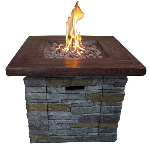 Loon Peak Davey Stone Propane Fire Pit Table