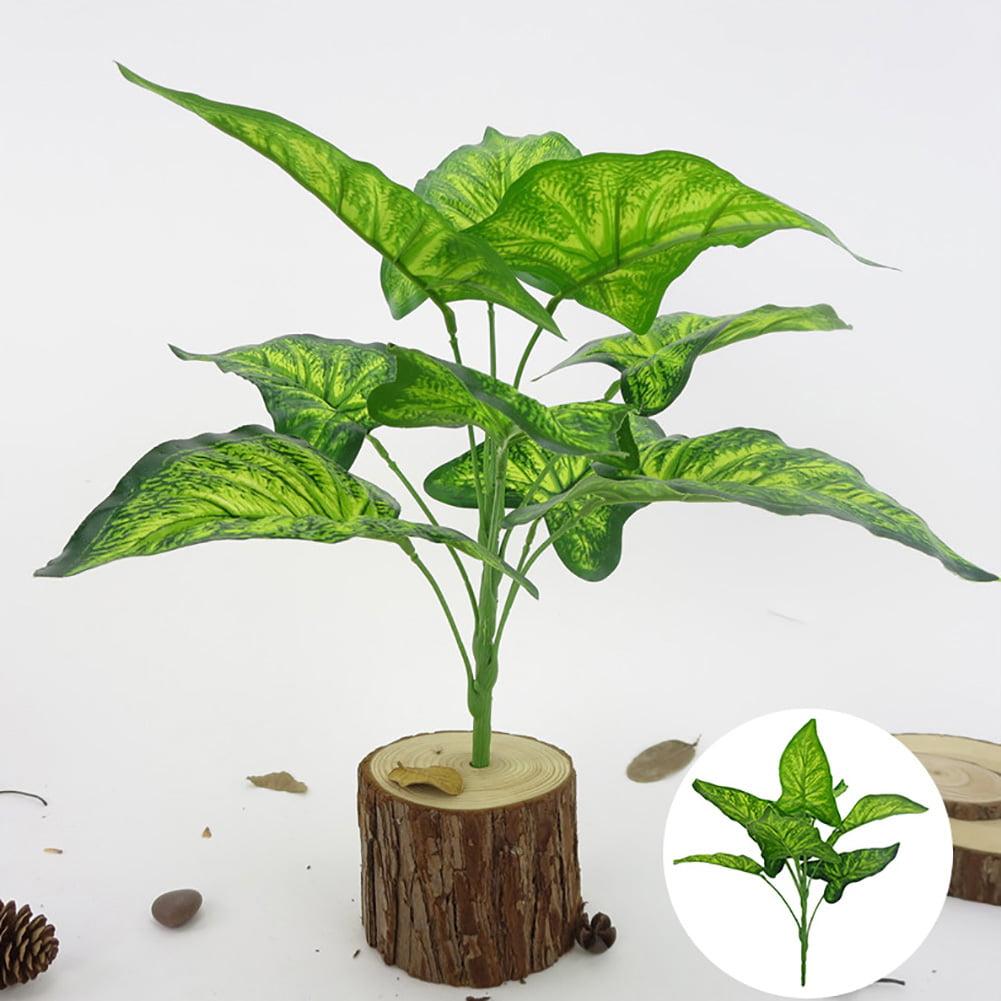 Micelec 1Bouquet 9 Heads Artificial Plant Fairy Taro Leaves Home Bonsai Decoration