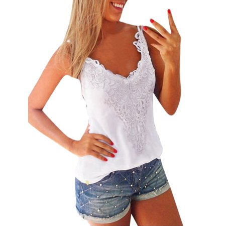Cami Top White Crochet Lace Tank Top O Neck Summer Top FREE Eyeglass Pouch by Kaneesha (XL)