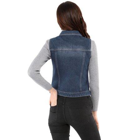 Women's Buttoned Washed Denim Vest Jacket w Chest Flap Pockets Blue S (US 6) - image 4 de 6