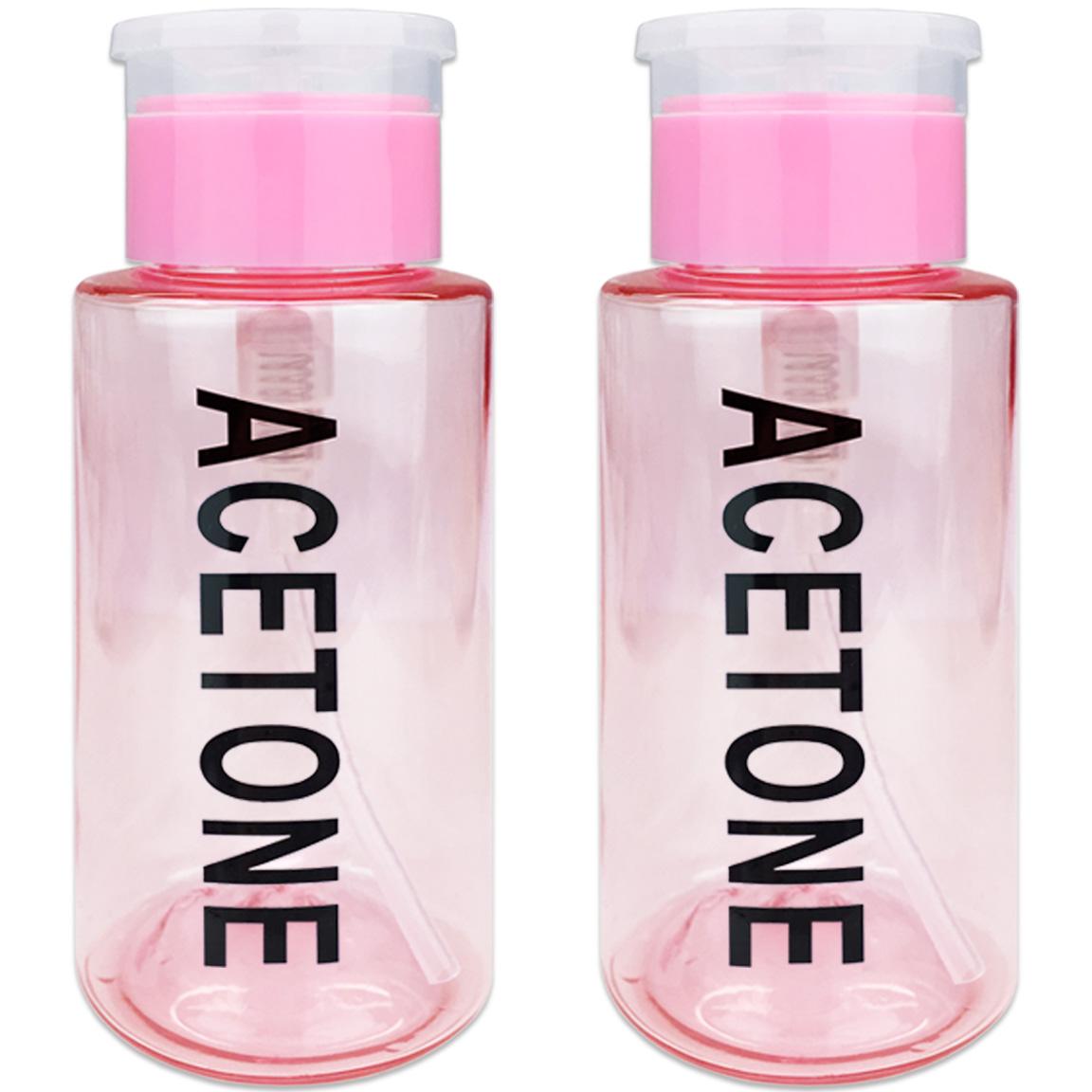 Pana High Quality 7oz Liquid Pump Dispenser With Acetone Label - Teal (2 Bottles)