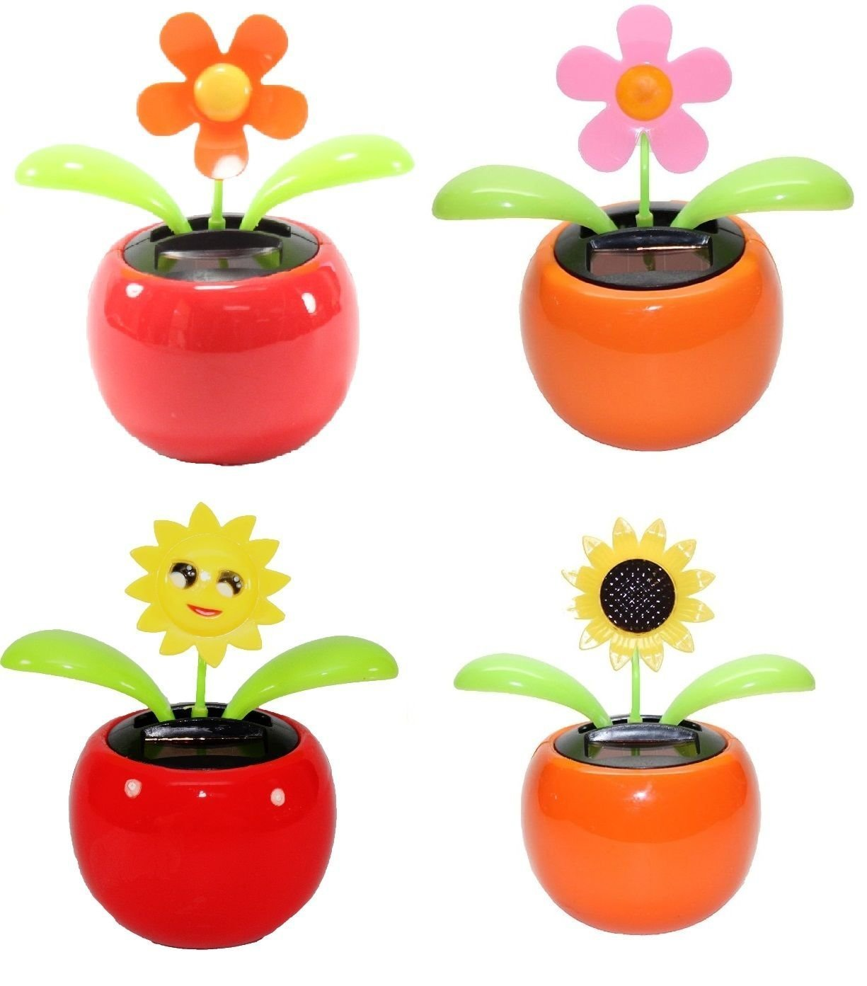 4 eco friendly bobblehead solar dancing flowers in colorful pots 4 eco friendly bobblehead solar dancing flowers in colorful pots decoration gift no battery required 1 orange daisy 1 pink daisy 1 smiley face izmirmasajfo