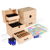 Wood Essential Oil Box Organizer - Holds 45 (5-15 ml) & 14 (10ml Roll-On) Essential Oil Bottles - Includes 14 Bottles, 1 Set of Labels, 1 Bottle Opener Tool, and 14 Pipettes