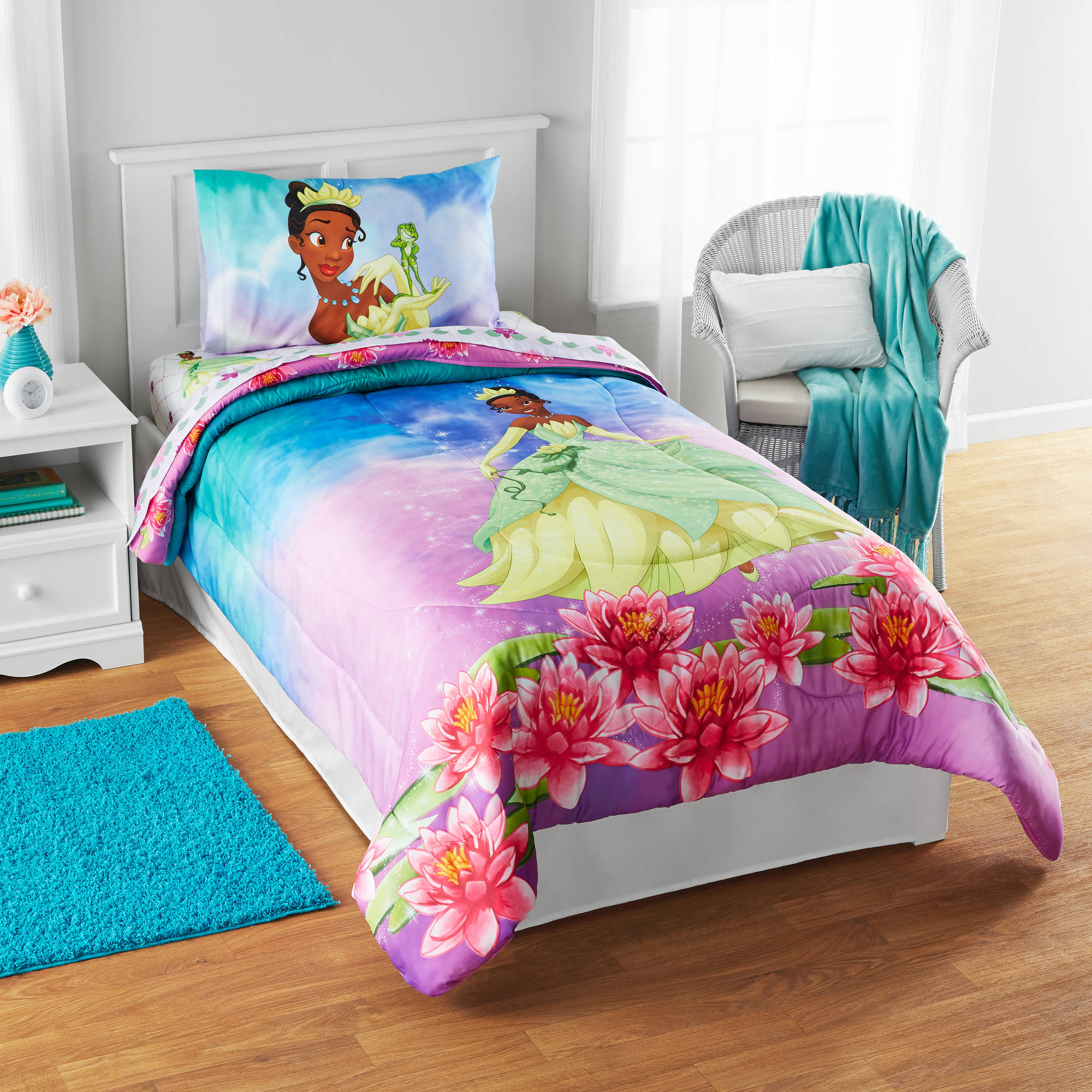 "Disney Tiana ""Tiana Dreams"" Reversible Twin/Full Bedding Comforter, Walmart Exclusive"