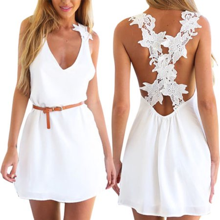 - Women Holiday Short Lace Mini Dress Ladies Casual Sleeveless Summer Beach Party Sundress