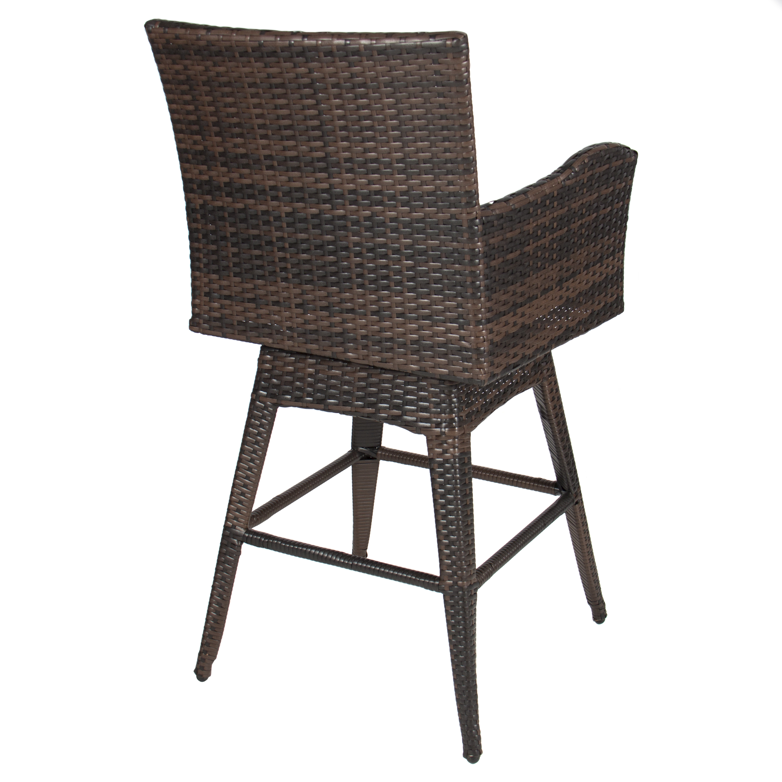 Outdoor Patio Furniture All Weather Brown Pe Wicker Swivel Bar Stool W Cushion Walmart Com