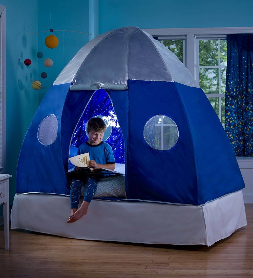 Galactic Spaceship Twin Bed Tent for Kids with Starburst LED Light by HearthSong