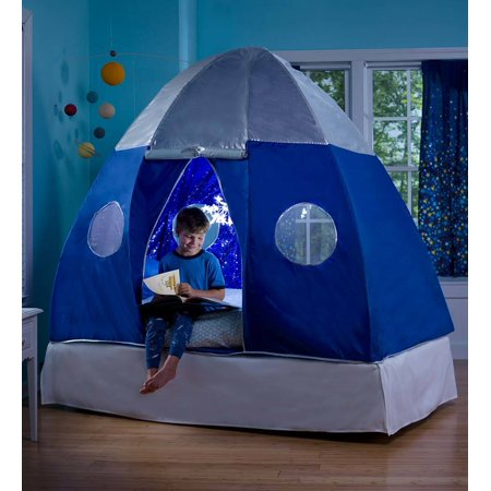 Galactic Spaceship Twin Bed Tent for Kids with Starburst LED Light
