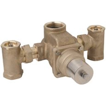 Symmons Tempcontrol Thermostatic Mixing Valve, Rough Brass, 1-1/2 In. X 2 In.