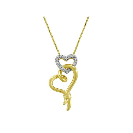 Knots of Love 14kt Yellow Gold over Sterling Silver 1/10 Carat T.W. Diamond Double Heart Pendant, 18