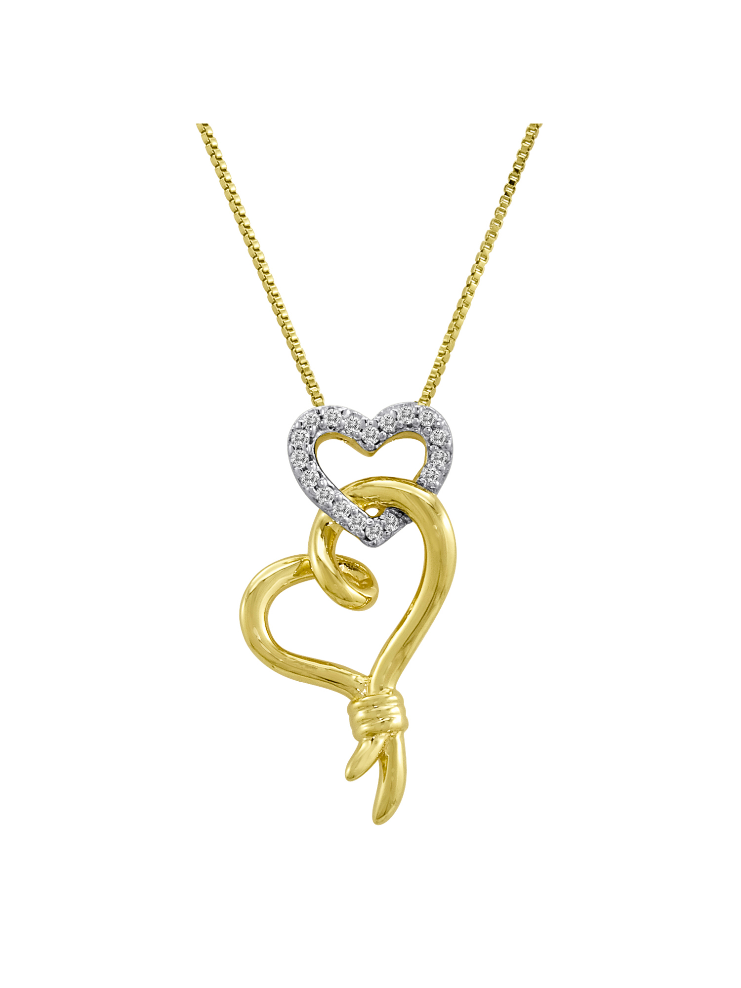 """Knots of Love 14kt Yellow Gold over Sterling Silver 1/10 Carat T.W. Diamond Double Heart Pendant, 18"""""""