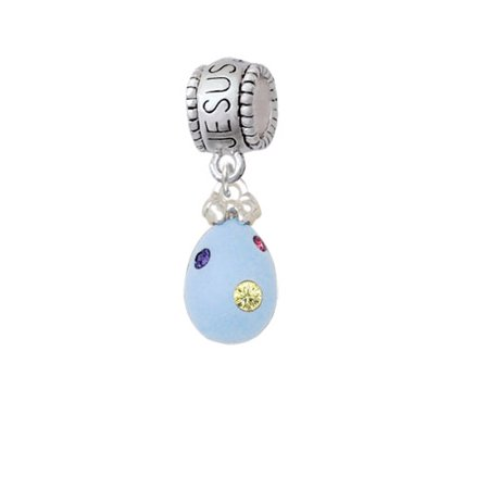 Light Blue Easter Egg with Multicolored Crystal Dots - Jesus Loves Me Charm Bead