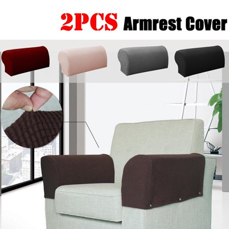 2pcs Stretch Fabric Armrest Covers Sofa Armchair Slipcovers Couch