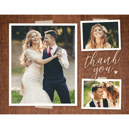 Personalized Wedding Thank You Postcard - Lovely Rustic Postcard - 4.25 x 5.5 Flat Deluxe