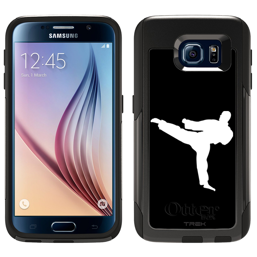 SKIN DECAL FOR Otterbox Commuter Samsung Galaxy S6 Case - Silhouette Martial Arts on Black DECAL, NOT A CASE