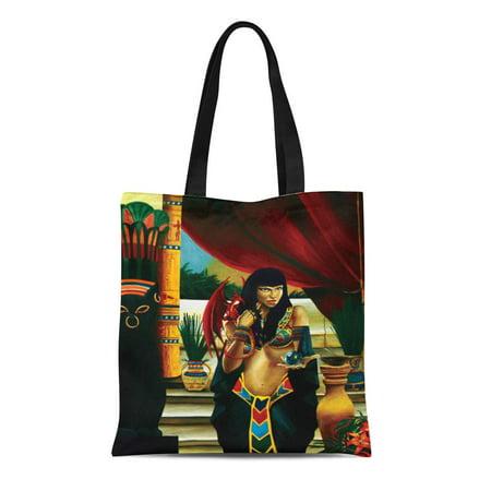 LADDKE Canvas Tote Bag Egypt Egyptian Queen Dragon Universe Reusable Handbag Shoulder Grocery Shopping Bags