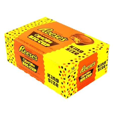 REESE'S PIECES Big Cup Peanut Butter Cups, King Size (Pack of 16) - Reese Pieces Halloween Size