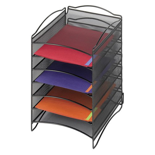 Safco 9431BL Onyx Mesh Literature Organizer with 6 Compartments Black by Safco Products