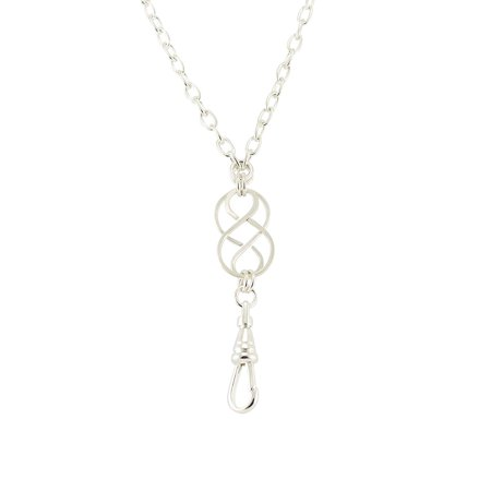 Women's Fashion ID Badge Lanyard or Key Chain Necklace with Single Silver Celtic Knot and Magnetic Breakaway Clasp - Folding Clasp Tag