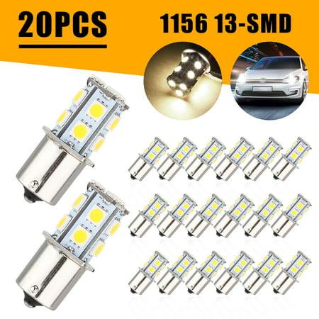 TSV 20PCS 1156 Interior Light Bulbs, BA15S 1156 5008 7506 13SMD LED Light Bulbs Super Bright 500 Lumens 12V Side marker Parking Bulbs Fit for RV Camper Trailer Turn Signal Backup Reverse - Warm White 13 Smd Led
