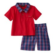 Only Kids Infant Boys 2 Piece Red Polo T-Shirt & Blue Plaid Shorts