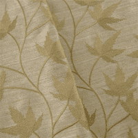 Fawn Beige Leaf Embroidered Drapery Fabric, Fabric By the Yard