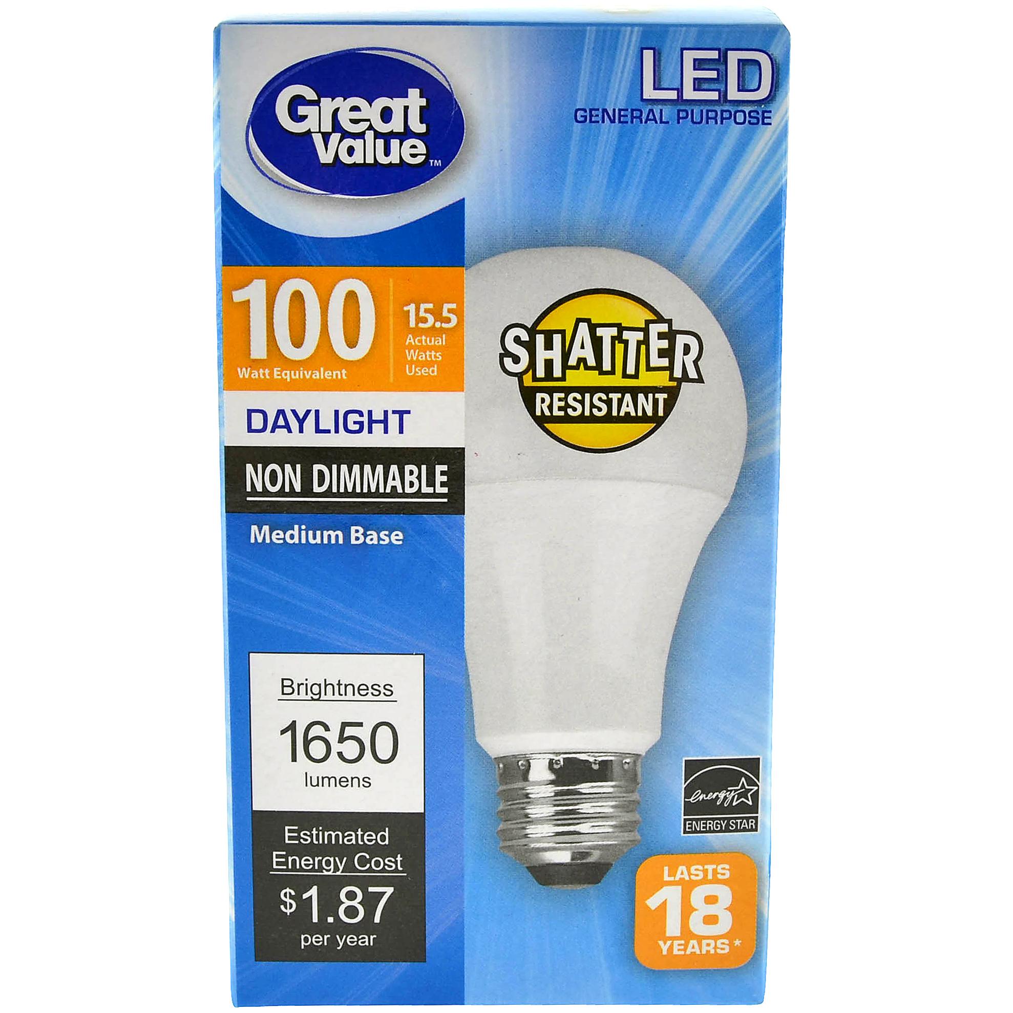 Great Value LED General Purpose (E26) Light Bulb, 16W (100W Equivalent), Daylight