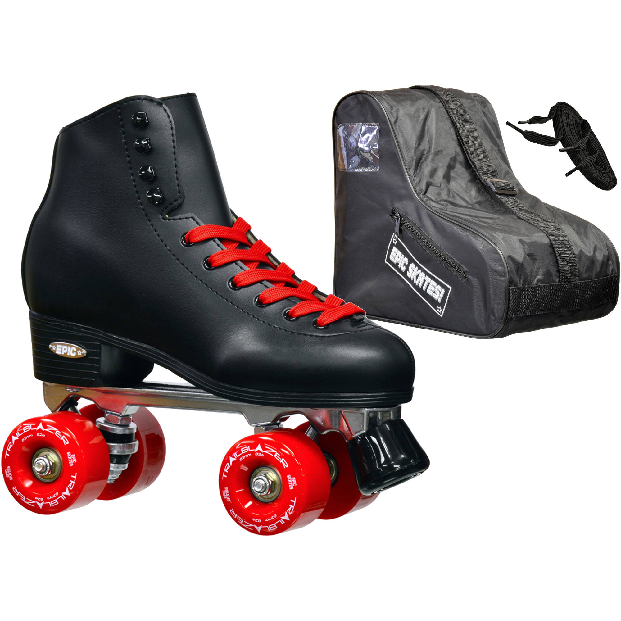 Epic Classic Black and Red Quad Roller Skates Package