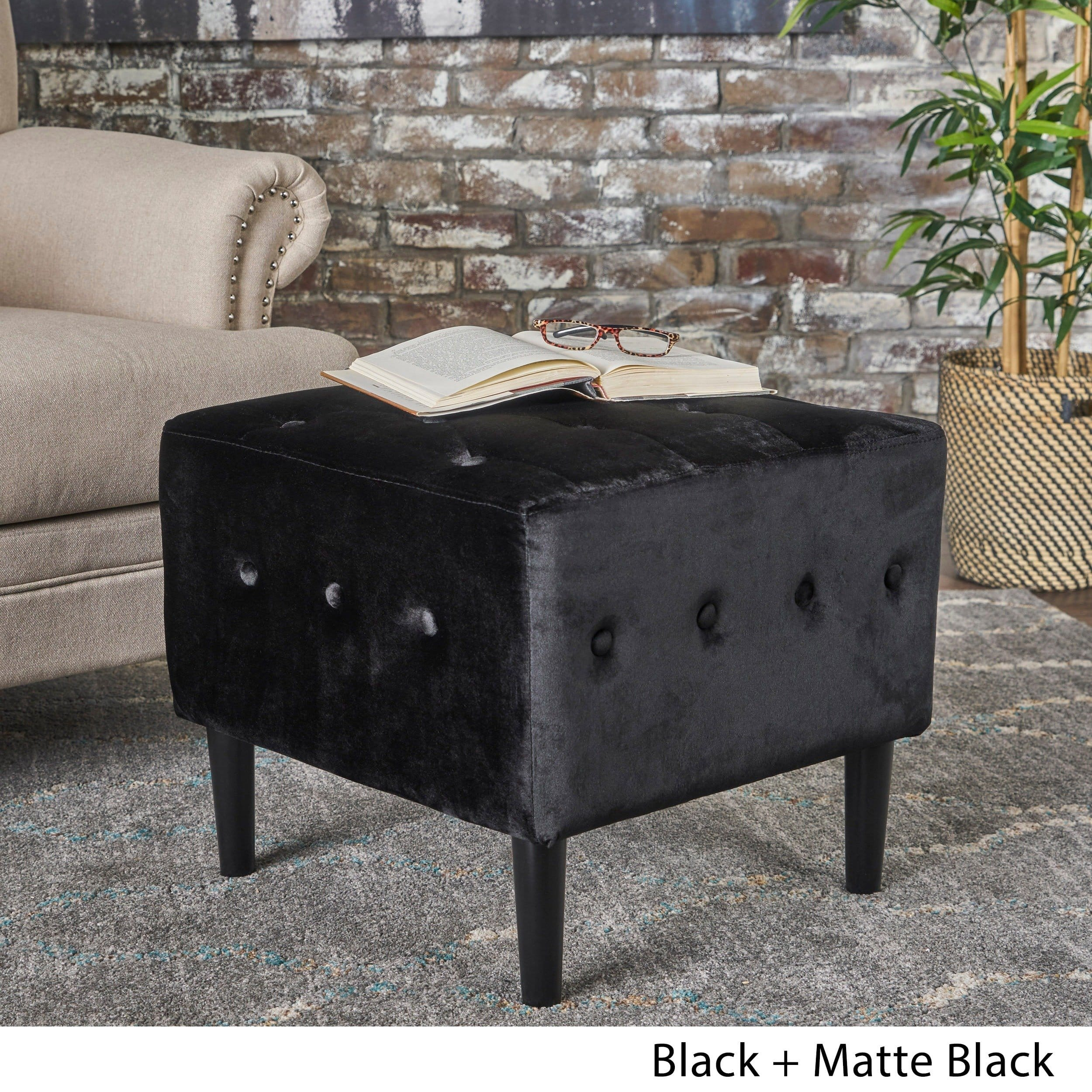Christopher Knight Home Esther Tufted Velvet Square Ottoman Stool by