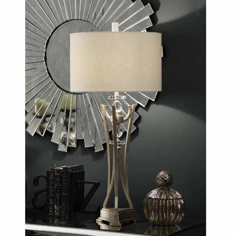 Ellis 35-Inch Table Lamp, Silver Leaf