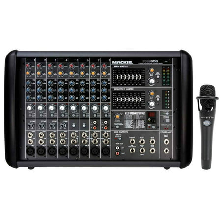 mackie ppm608 8 channel 1000w pro active powered mixer with 32 bit fx blue mic. Black Bedroom Furniture Sets. Home Design Ideas