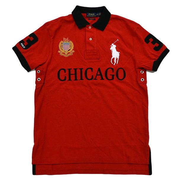 Polo Ralph Lauren Mens Big Pony City Custom Fit Mesh Polo Shirt (X-Large, RL2000 Red Chicago)