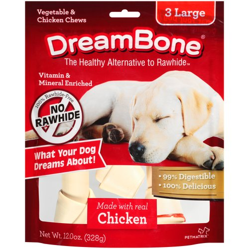 DreamBone Vegetable and Chicken Large Dog Chews, 3-Count, 12 oz