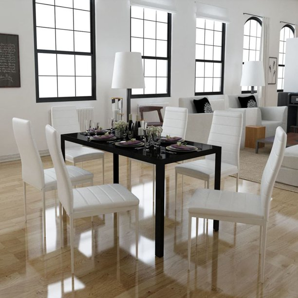 Mgaxyff Seven Piece Dining Table and Chair Set Black and White