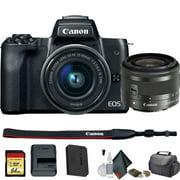 Canon EOS M50 Mirrorless Digital Camera +15-45mm Lens (Intl Model) (2680C011) St