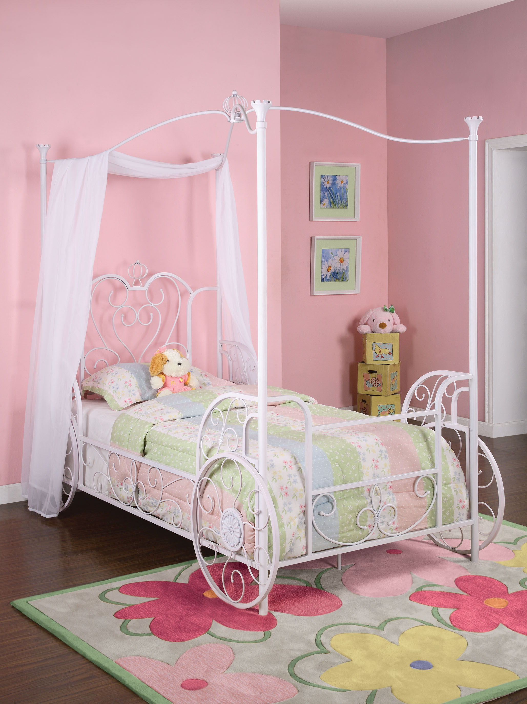 & Powell Carriage Twin Metal Canopy Bed Antique White - Walmart.com