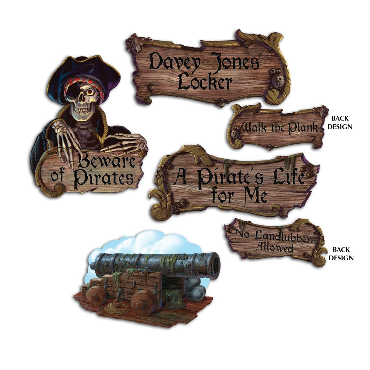 """Pack of 48 Brown Pirate Cutout Party Decorations 16"""""""