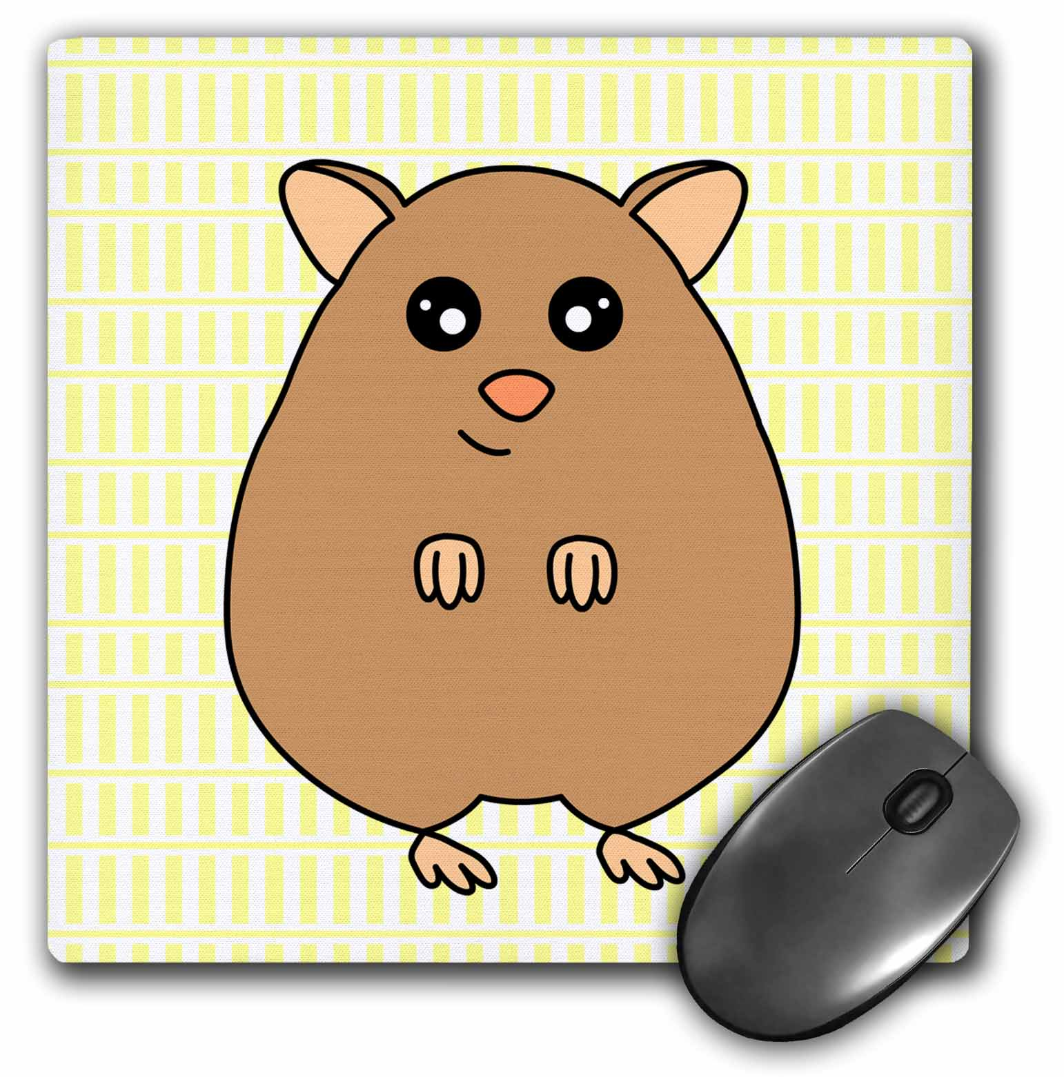 3dRose Cute Brown Hamster, Mouse Pad, 8 by 8 inches