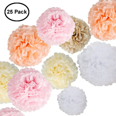 Paper Flowers Fluffy Tissue Paper Pom Poms Hanging Flower Ball for Wedding Decor Party Celebration 25 Pcs (Blue Art Tissue Ball)