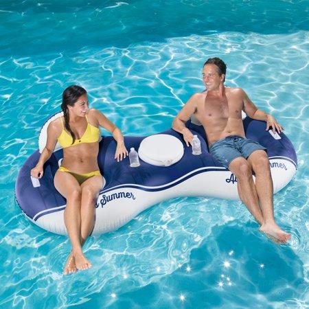 Corona Tube - Corona Always Summer 2-Person Inflatable Mesh Inner Tube Lounge with Cooler