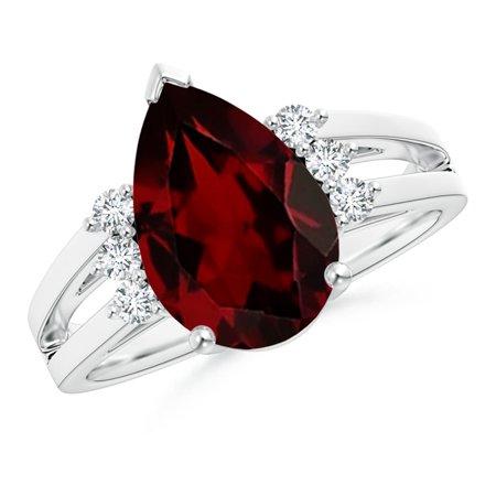 angara january birthstone ring pear garnet ring with triple