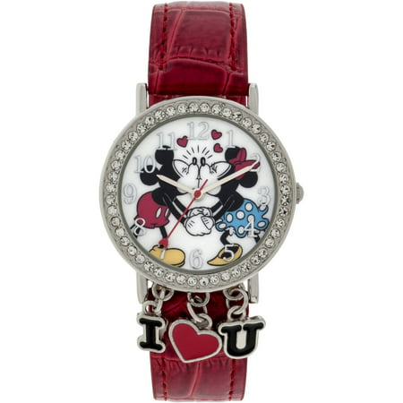 Mickey Mouse Stone Case with Dangling Charms Character-Printed Dial Analog Watch, Red Iced Croco PU Strap