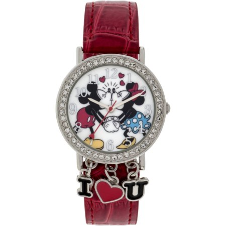 Mickey Mouse Stone Case with Dangling Charms Character-Printed Dial Analog Watch, Red Iced Croco PU Strap Croco Strap Date Watch