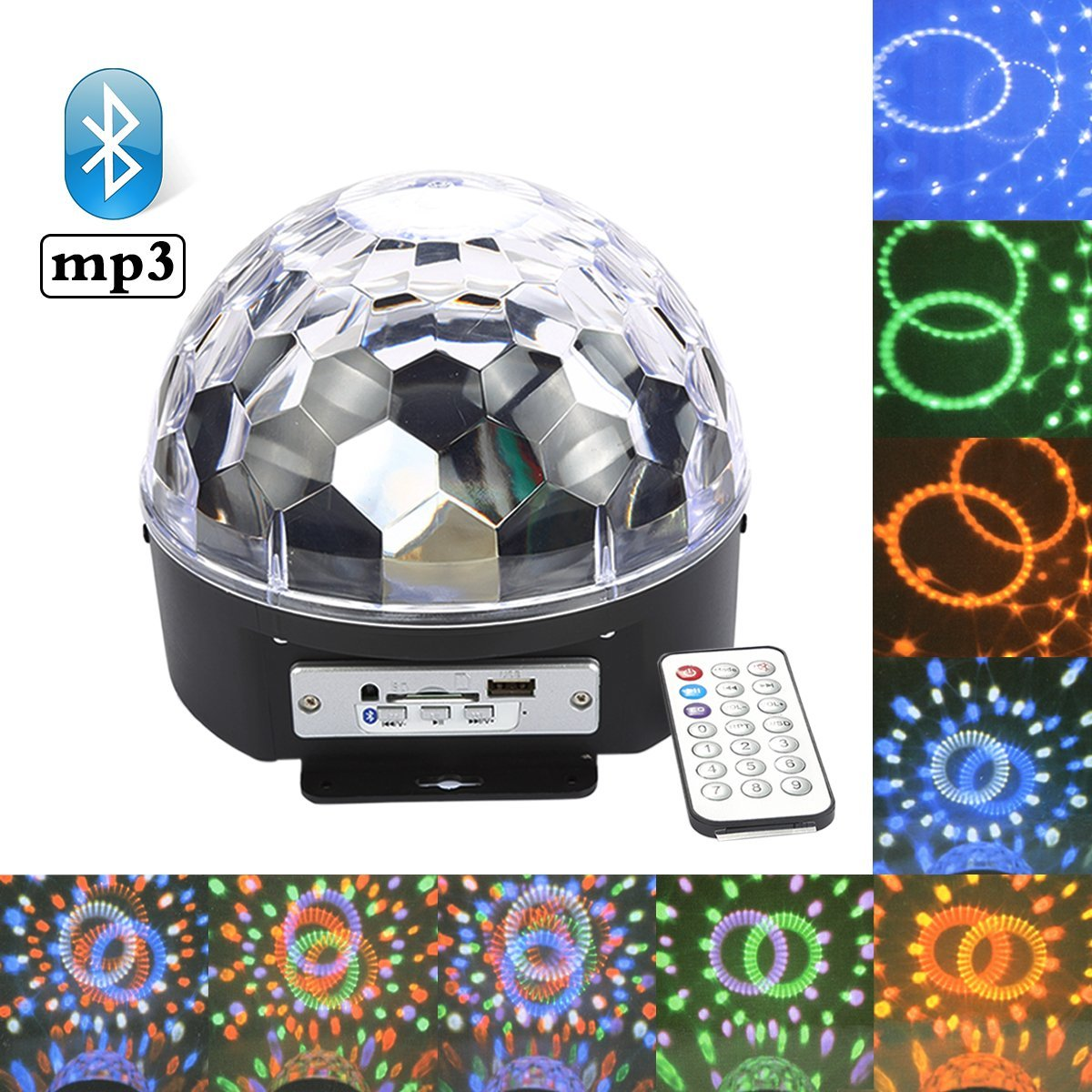 CoastaCloud Bluetooth MP3 RGB LED Lights Disco Light Stage Lights DJ Lights Crystal Magic Ball Sound Activated 6 Color... by CoastaCloud