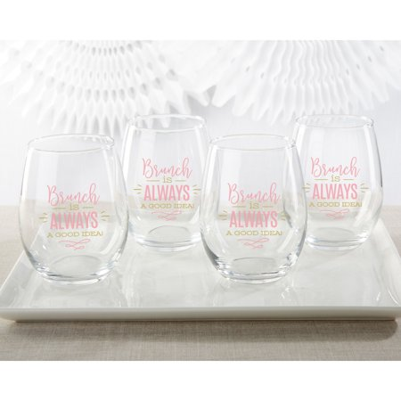 Kate Aspen Brunch is Always A Good Idea 15 oz. Stemless Wine Glass - Set of 4 - Graduation Brunch Ideas