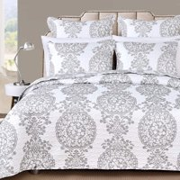DriftAway 3 Piece Samantha Reversible Quilt Set Bedspreads Coverlets Floral Medallion Pattern Cover Prewashed Gray King