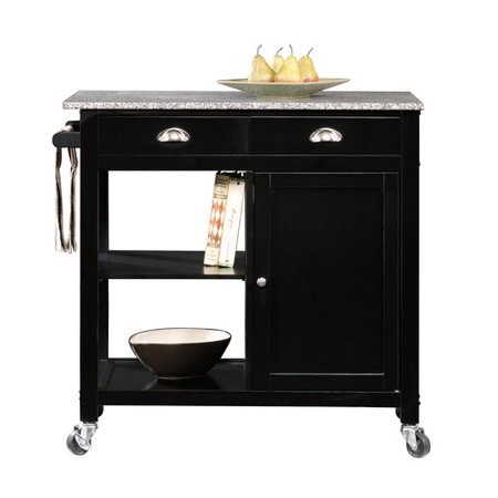 Granite Kitchen Island Cart (Better Homes & Gardens Kitchen Cart, Black/Granite Top)