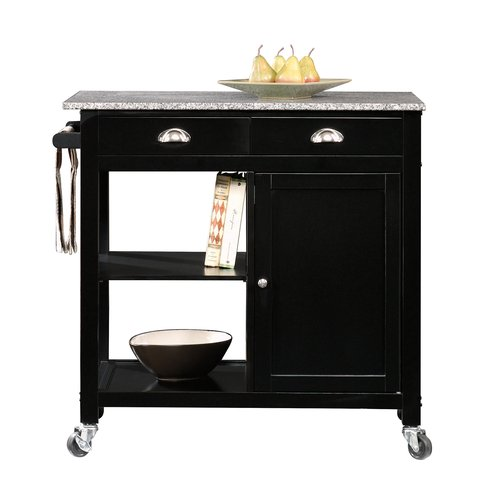 Better Homes and Gardens Kitchen Cart, Black/Granite Top