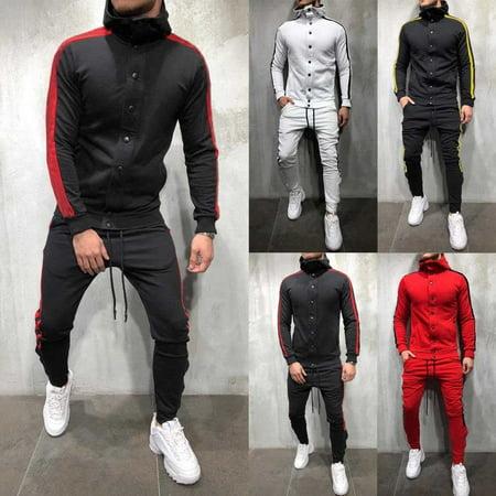 Mens Slim Fit Jogging Tracksuit Sports Gym Sweat Suit Athletic Apparel - Victorian Mens Outfit
