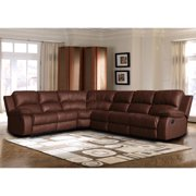 Madison Home Classic Oversize and Overstuffed Corner Bonded Leather Sectional with 2 Reclining Seats